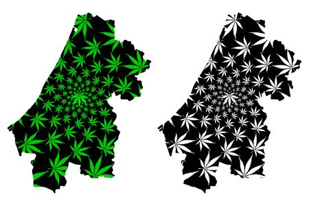 Rabat Sale Kenitra Region (Kingdom of Morocco, Regions of Morocco) map is designed cannabis leaf green and black, Errbat-Sla-Qnitra map made of marijuana (marihuana,THC) foliage Иллюстрация