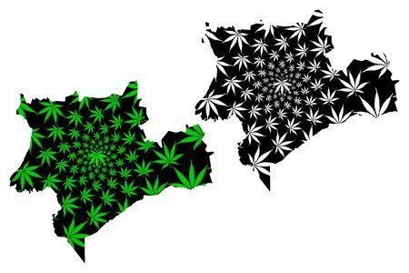 Souss Massa Region (Kingdom of Morocco, Regions of Morocco) map is designed cannabis leaf green and black, Sus-Massa map made of marijuana (marihuana,THC) foliage