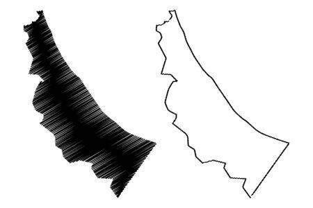 Al Batinah North Governorate (Sultanate of Oman, Governorates of Oman) map vector illustration, scribble sketch Al Batinah North map