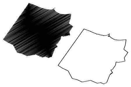 Al Batinah South Governorate (Sultanate of Oman, Governorates of Oman) map vector illustration, scribble sketch Al Batinah South map