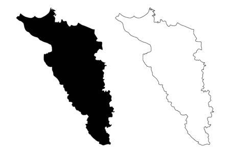 Carolina municipality (Commonwealth of Puerto Rico, Porto Rico, PR, Unincorporated territories of the United States) map vector illustration, scribble sketch Carolina map Иллюстрация