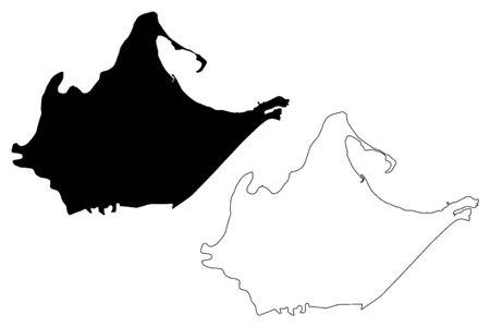 Catano municipality (Commonwealth of Puerto Rico, Porto Rico, PR, Unincorporated territories of the United States) map vector illustration, scribble sketch Catano map Иллюстрация