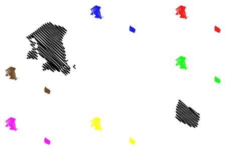 Capital Region of Denmark (Kingdom of Denmark) map vector illustration, scribble sketch Hovedstaden map Иллюстрация