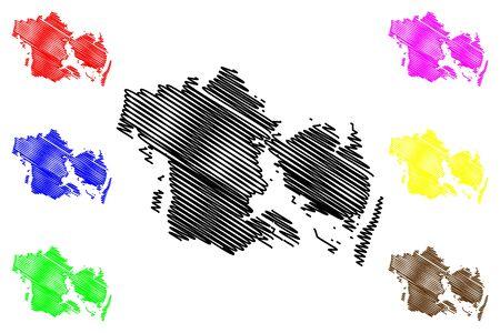 Region of Southern Denmark (Kingdom of Denmark) map vector illustration, scribble sketch Syddanmark map Иллюстрация