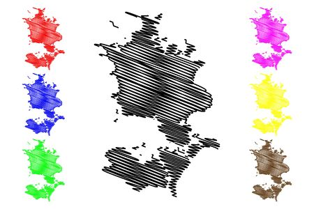 Region Zealand (Kingdom of Denmark) map vector illustration, scribble sketch Sjalland map
