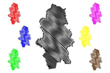 Central Finland Region (Republic of Finland) map vector illustration, scribble sketch Central map