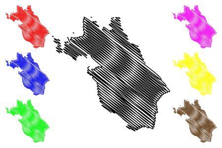 Central Ostrobothnia Region (Republic of Finland) map vector illustration, scribble sketch Central Ostrobothnia map