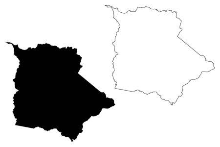 Coamo municipality (Commonwealth of Puerto Rico, Porto Rico, PR, Unincorporated territories of the United States) map vector illustration, scribble sketch Coamo map