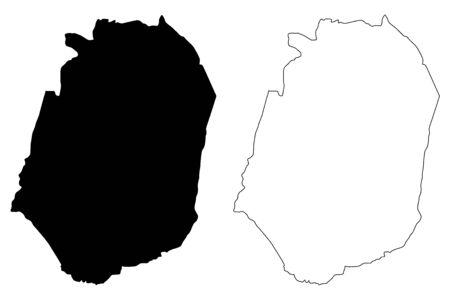 Corozal municipality (Commonwealth of Puerto Rico, Porto Rico, PR, Unincorporated territories of the United States) map vector illustration, scribble sketch Corozal map Иллюстрация