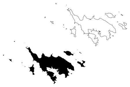 Isla Culebra municipality (Commonwealth, Porto Rico, PR, Unincorporated territories of the United States) map vector illustration, scribble sketch Culebrita, Cayo Norte, Cayo Luis Pena, Cayo Lobo map