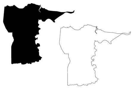 Dorado municipality (Commonwealth of Puerto Rico, Porto Rico, PR, Unincorporated territories of the United States) map vector illustration, scribble sketch Dorado map Иллюстрация