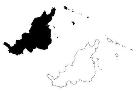 Fajardo municipality (Commonwealth of Puerto Rico, Porto Rico, PR, Unincorporated territories of the United States) map vector illustration, scribble sketch Fajardo map Illustration