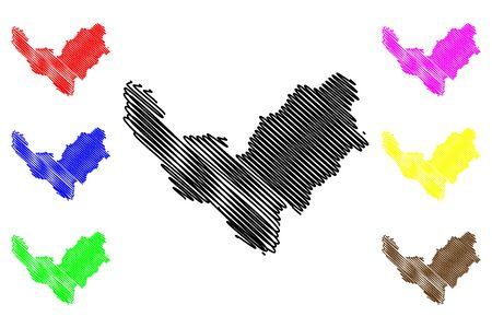 Bouenza Department (Departments of the Republic of the Congo, Congo-Brazzaville, Congo Republic,RotC) map vector illustration, scribble sketch Bouenza map Иллюстрация