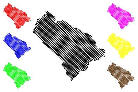 Kouilou Department (Departments of the Republic of the Congo, Congo-Brazzaville, Congo Republic,RotC) map vector illustration, scribble sketch Kouilou map Иллюстрация