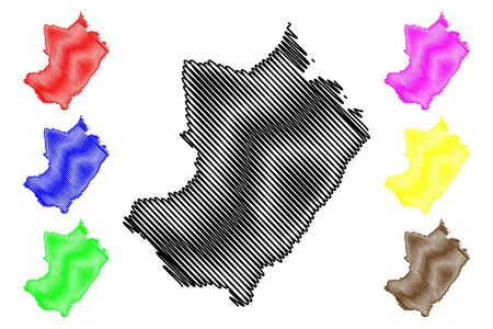 Lekoumou Department (Departments of the Republic of the Congo, Congo-Brazzaville, Congo Republic,RotC) map vector illustration, scribble sketch Lekoumou map Иллюстрация