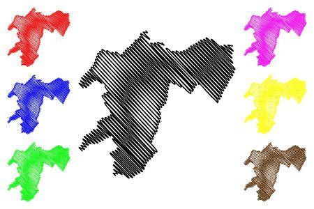 Pool Department (Departments of the Republic of the Congo, Congo-Brazzaville, Congo Republic,RotC) map vector illustration, scribble sketch Pool map Standard-Bild - 134361235