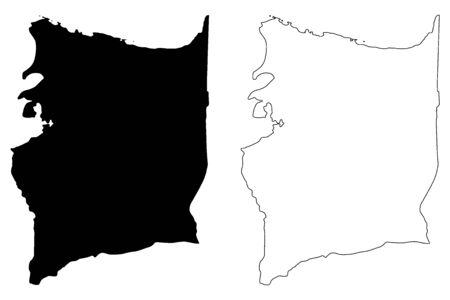 Manati municipality (Commonwealth of Puerto Rico, Porto Rico, PR, Unincorporated territories of the United States) map vector illustration, scribble sketch Manati map