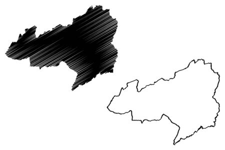 Bong County (Counties of Liberia, Republic of Liberia) map vector illustration, scribble sketch Bong map