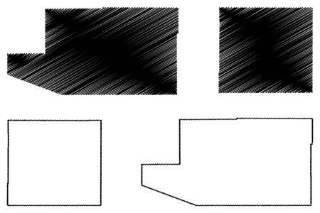 Santa Cruz and Cochise County, Arizona (U.S. county, United States of America,USA, U.S., US) map vector illustration, scribble sketch Santa Cruz and Cochise map Vector Illustration