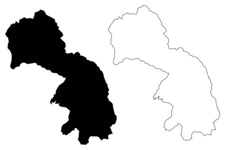 Kukes County (Counties of Croatia, Republic of Albania) map vector illustration, scribble sketch Kukes map Ilustracja