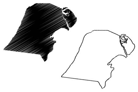 Jahra Governorate (State of Kuwait, Governorates of Kuwait) map vector illustration, scribble sketch Jahra map