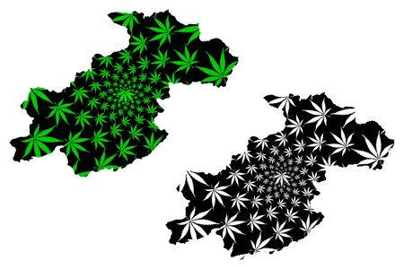 Ghor Province (Islamic Republic of Afghanistan, Provinces of Afghanistan) map is designed cannabis leaf green and black, Ghowr or Ghur map made of marijuana (marihuana,THC) foliage