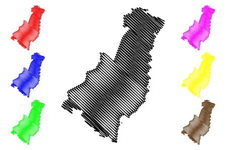 Gisborne Region (Regions of New Zealand, North Island) map vector illustration, scribble sketch East Coast map Ilustracja