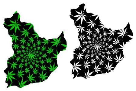 Laghman Province (Islamic Republic of Afghanistan, Provinces of Afghanistan) map is designed cannabis leaf green and black, Lamghan or Lamghanat map made of marijuana (marihuana,THC) foliage