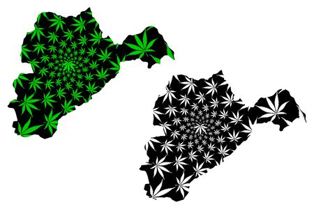 Logar Province (Islamic Republic of Afghanistan, Provinces of Afghanistan) map is designed cannabis leaf green and black, Logar map made of marijuana (marihuana,THC) foliage Illusztráció