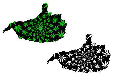 Nangarhar Province (Islamic Republic of Afghanistan, Provinces of Afghanistan) map is designed cannabis leaf green and black, Nangrahar or Ningrahar map made of marijuana (marihuana,THC) foliage Illusztráció