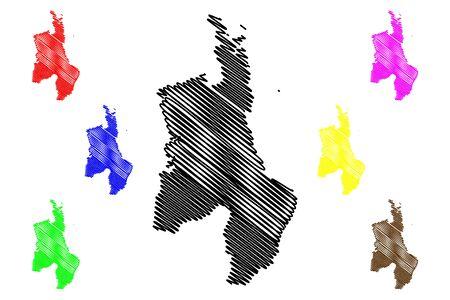 Waikato Region (Regions of New Zealand, North Island) map vector illustration, scribble sketch Waikato map Ilustracja
