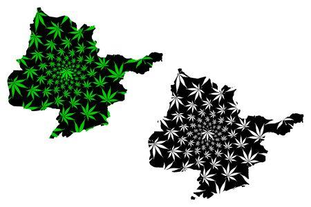 Herat Province (Islamic Republic of Afghanistan, Provinces of Afghanistan) map is designed cannabis leaf green and black, Herat map made of marijuana (marihuana,THC) foliage
