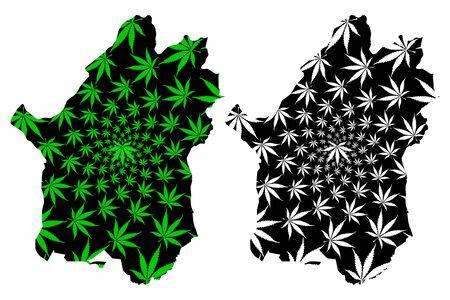Paktika Province (Islamic Republic of Afghanistan, Provinces of Afghanistan) map is designed cannabis leaf green and black, Paktika map made of marijuana (marihuana,THC) foliage