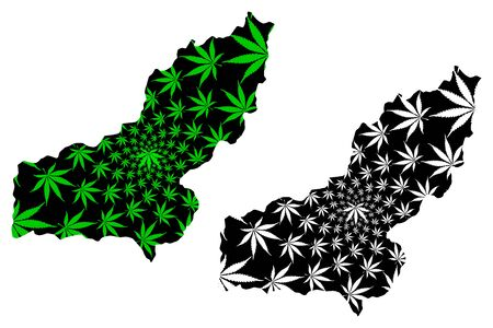 Panjshir Province (Islamic Republic of Afghanistan, Provinces of Afghanistan) map is designed cannabis leaf green and black, Panjsher map made of marijuana (marihuana,THC) foliage Illusztráció