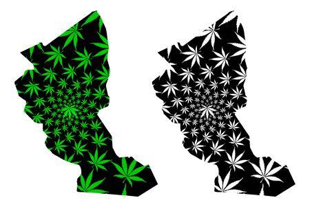 Illizi Province (Provinces of Algeria, Peoples Democratic Republic of Algeria) map is designed cannabis leaf green and black, Illizi map made of marijuana (marihuana,THC) foliage