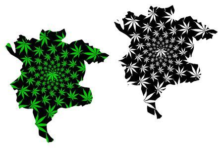Msila Province (Provinces of Algeria, Peoples Democratic Republic of Algeria) map is designed cannabis leaf green and black, Msila (Msila or MSila) map made of marijuana (marihuana,THC) foliage
