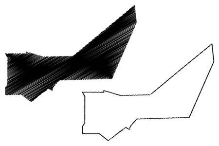 Adrar Region (Regions of Mauritania, Islamic Republic of Mauritania) map vector illustration, scribble sketch Adrar map