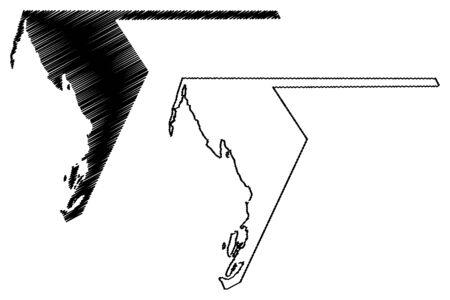 Dakhlet Nouadhibou Region (Regions of Mauritania, Islamic Republic of Mauritania) map vector illustration, scribble sketch Dakhlet Nouadhibou map
