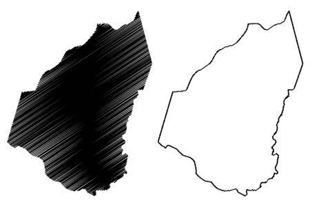 Guidimaka Region (Regions of Mauritania, Islamic Republic of Mauritania) map vector illustration, scribble sketch Guidimaka map Illustration