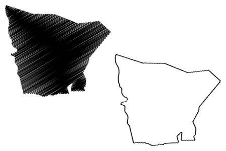 Hodh El Gharbi Region (Regions of Mauritania, Islamic Republic of Mauritania) map vector illustration, scribble sketch Hodh El Gharbi map