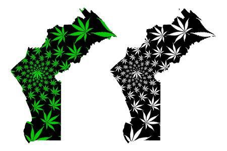Cabinda Province (Provinces of Angola, Republic of Angola) map is designed cannabis leaf green and black, Kabinda (Portuguese Congo, Tchiowa) map made of marijuana (marihuana,THC) foliage