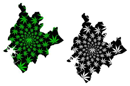 Littoral Region (Regions of Cameroon, Republic of Cameroon) map is designed cannabis leaf green and black, Littoral map made of marijuana (marihuana,THC) foliage Illustration
