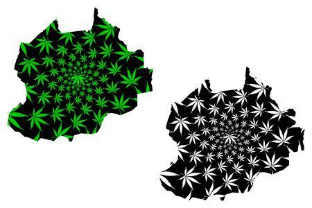 Northwest Region (Regions of Cameroon, Republic of Cameroon) map is designed cannabis leaf green and black, North-West Region map made of marijuana (marihuana,THC) foliage