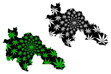 Savanes District (Ivory Coast, Republic of Cote dIvoire) map is designed cannabis leaf green and black, Savanes map made of marijuana (marihuana,THC) foliage