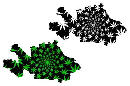 Woroba District (Ivory Coast, Republic of Cote dIvoire) map is designed cannabis leaf green and black, Woroba map made of marijuana (marihuana,THC) foliage