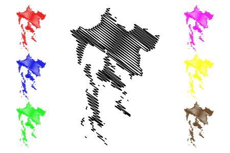Primorje-Gorski Kotar County (Counties of Croatia, Republic of Croatia) map vector illustration, scribble sketch Primorje Gorski Kotar (Krk, Cres, Losinj and Rab island) map