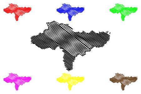 Varazdin County (Counties of Croatia, Republic of Croatia) map vector illustration, scribble sketch Varazdin map