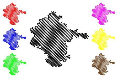 Vukovar-Srijem County (Counties of Croatia, Republic of Croatia) map vector illustration, scribble sketch Vukovar Srijem map Illustration