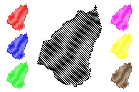 Guidimaka Region (Regions of Mauritania, Islamic Republic of Mauritania) map vector illustration, scribble sketch Guidimaka map 일러스트