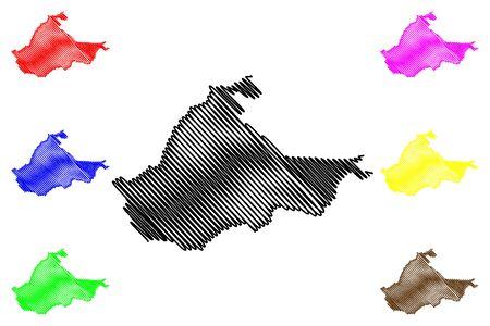 Brcko District (Bosnia and Herzegovina, BiH, Bosnia–Herzegovina) map vector illustration, scribble sketch Brcko map